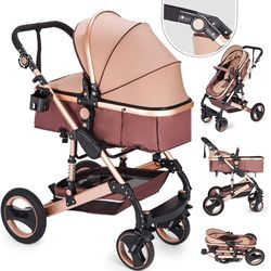 BestEquip BestEquip 2 in 1 Baby Stroller Baby Carriage Stroller Portable Anti-Shock Springs Infant Pushchair for Sale in Montebello,  CA