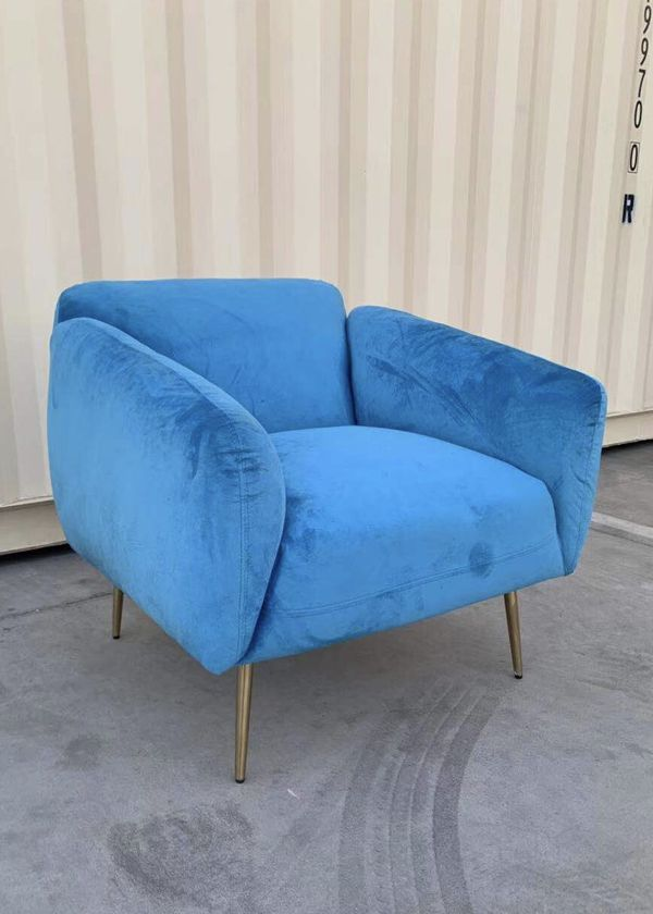 NEW Velvet 33x32x31 Inch Tall Sofa Chair Light Blue Thick Cushion with Steel Gold Color Legs living room bedroom furniture