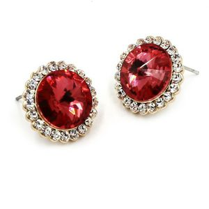 Noble crstyal red flower golden rim earrings for Sale in Redwood City, CA