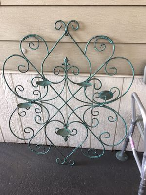 Gorgeous large metal wall or garden art plant or candle holder for Sale in Glendora, CA