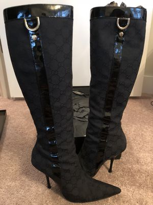 GUCCI Black Fabric Original GG Knee Boots - 7.5 US for Sale in Tampa, FL