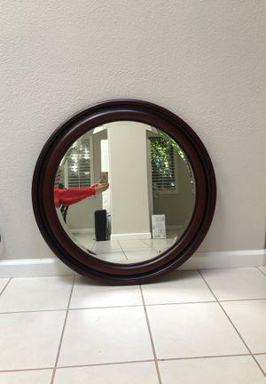 """Round Mirror in rich espresso frame 33"""" for Sale in Saratoga, CA"""