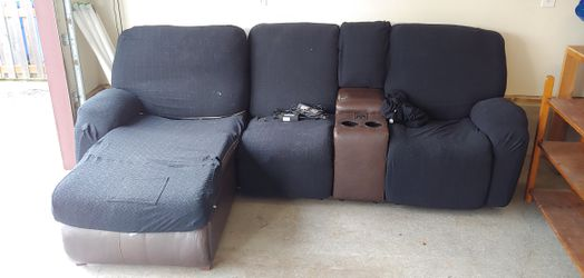 FREE Electric Couch Brown Bonded Leather w/ Black Fabric Slipcovers for Sale in Fairview,  OR