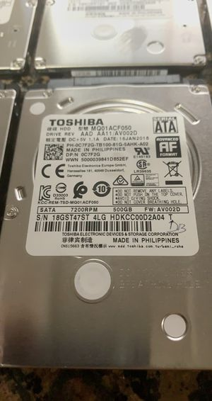 500GB Laptop Hard Drive SATA Toshiba HDD 2.5 7200RPM for Sale in Roseville, CA