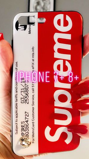 New iphone 7+ or iphone 8+ plus case rubber SUPREME phone case for Sale in San Bernardino, CA