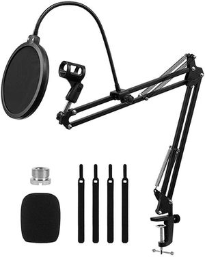 Desk Mic Stand for Blue Yeti Suspension Adjustable Mic Boom Arm Stands with Microphone Filter,Mic Clip,Radio Broadcasting and Recording for Sale in Sacramento, CA