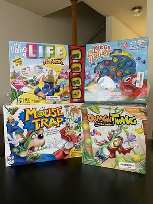 KIDS FAMILY GAME BUNDLE - MOUSE TRAP, THE GAME OF LIFE, LET'S GO FISHING, ORANGUTWANG for Sale in Los Angeles, CA