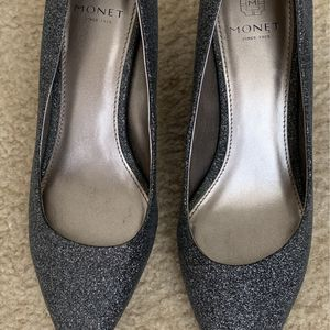 Heigh Heel Silver Glitter Shoes Size 8 1/2 for Sale in Weston, FL