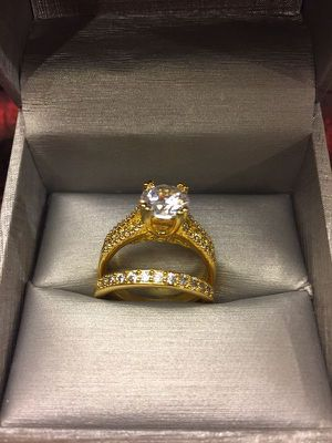 18K Gold plated Engagement/Wedding Ring set - Solitaire Diamond 💍 for Sale in Boston, MA