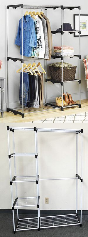 "New $25 each Double Rod Freestanding Closet Heavy Duty Storage Organizer, 45""x19""x68"" for Sale in El Monte, CA"