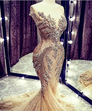 Luxury Gold Sparkle Crystal Mermaid Evening Dresses for Sale in Atlanta, GA