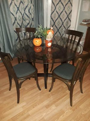 5 piece glass round wood dining table w 4 chairs for Sale in Stockton, CA