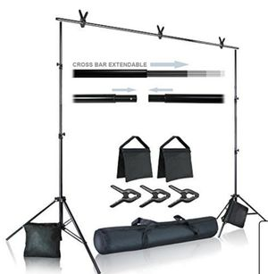 photo video studio 10 ft. wide cross bar 7 ft. tall background stand backdrop support system kit with carry bag, photography studio for Sale in Ontario, CA