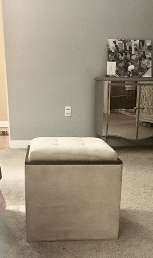 ETHAN ALLAN OFF WHITE SUEDE OTTOMAN for Sale in Morrisville, NC