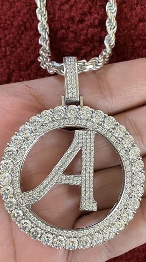 """Real White Gold On Silver Initial Letter Alphabet """"A"""" Pendant XL Diamonds Charm With 20 Inch Sterling Silver Rope Chain 5MM for Sale in Tracy, CA"""