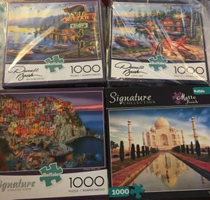 New bundle of 4 x 1000 piece buffalo games brand puzzle for Sale in West Los Angeles, CA