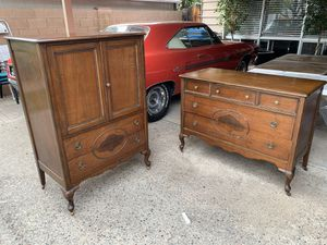 Antique 5 drawer dresser with mirror and 6 drawer tall chest for Sale in Phoenix, AZ