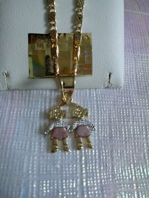 2 girls chain in 3-tone gold plate for Sale in Elk Grove Village, IL