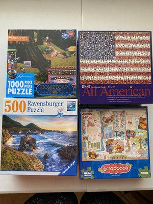 4 puzzles - Disney, Ravensburger, Hometown collection for Sale in Mesa, AZ