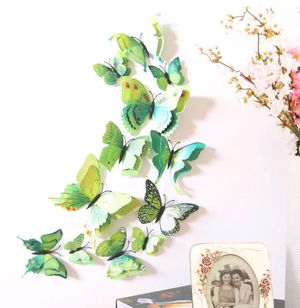 12pcs GREEN 3D Bright Color Butterflies Home Office Wall Decor DIY 3D Stickers for Sale in Upland, CA