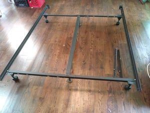 👑 Queen size metal bed frame on wheels for sale for Sale in St. Louis, MO
