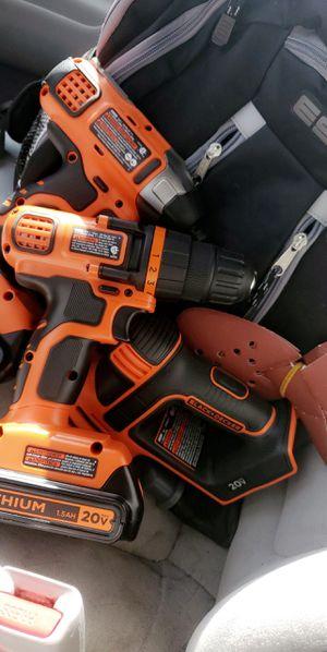 Black + Decker 20V Lithium Drill, Impact Driver & Sander for Sale in Belle Plaine, IA