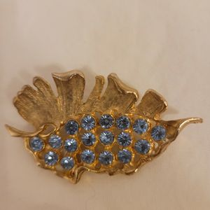 Vintage Gold Tone Leaf w/Baby Blue Rhinestones Brooch Pin for Sale in Albuquerque, NM