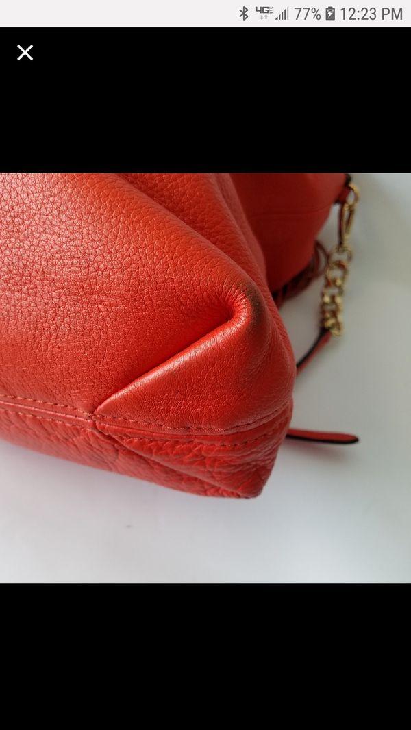 Michael kors orange hobo leather bag