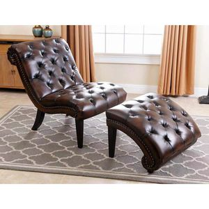 Bryce Tufted Leather Chaise Lounge chair Set with Ottoman, Brown living room bedroom elderly nursery for Sale in Diamond Bar, CA