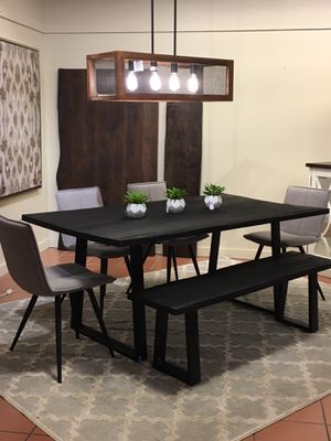 Black wood Table + Bench for Sale in Seattle, WA