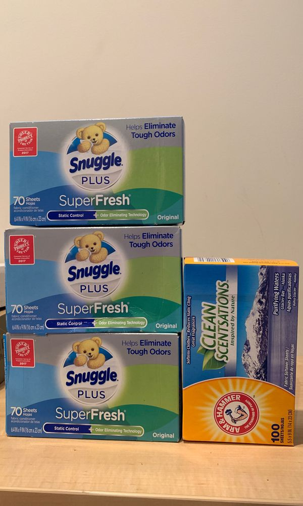 Snuggle Plus Super Fresh dryer sheets 70 count or Arm & Hammer clean scentsations dryer sheets 100 count — NO LONGER AVAILABLE
