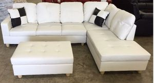 New white leather sectional couch with storage ottoman and two free pillows! Delivery available for Sale in Portland, OR