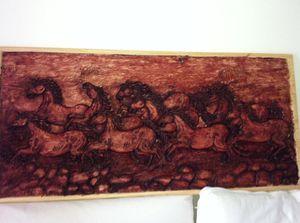 Running horses wood sculpture for Sale in Alexandria, VA