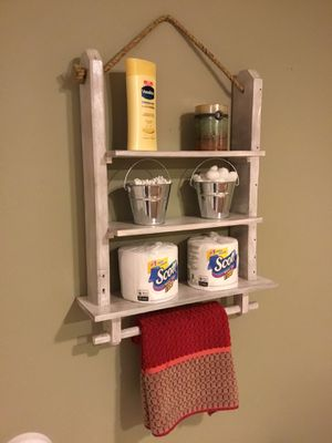 Bathroom Shelf Organizer Towel Rack Wooden Decor Hanging Wall Storage Shelves Kitchen Spice Rack for Sale in Staten Island, NY