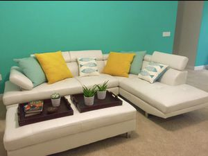 NEW IBIZA SECTIONAL SOFA WITH OTTOMAN. BLACK OR WHITE. NO CREDIT CHECK FINANCING AVAILABLE. for Sale in Lakeland, FL