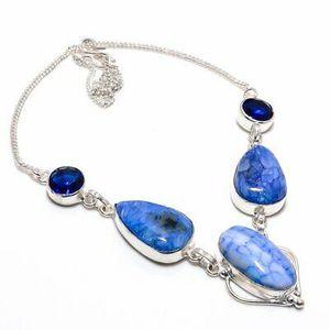 Aqua Druzy, Blue Topaz Gemstone 925 Sterling Silver Jewellery Necklace 18 Inch for Sale in Panama City Beach, FL