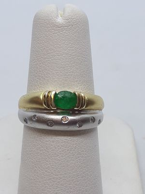 14k two tone emerald and diamond ring 3.4 grams size 6 for Sale in Fort Pierce, FL