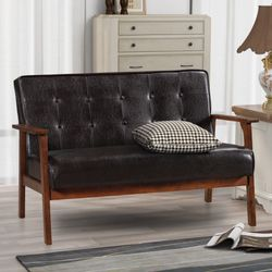 Sarah Modern Solid Loveseat Sofa Upholstered PU Leather 2-Seat Couch (Dark Brown) for Sale in San Diego,  CA