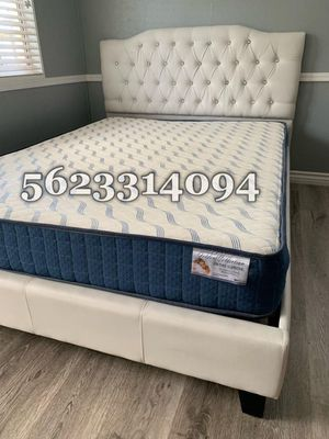 King size white Tufted Bed with Mattress Included for Sale in Fresno, CA