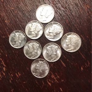 8 Mercury Silver Dimes. Rare Coins Rare Precious for Sale in Dallas, TX
