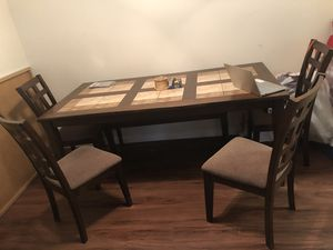 Wooden table with 4 chairs and a bench for Sale in National City, CA