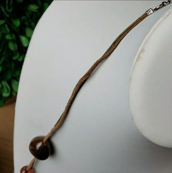 Long Strand & Matching Earrings Statement Set - Brown - Orange