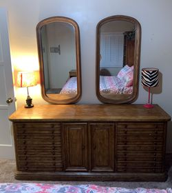 Heavy Solid Oak Mid-Century 9 Drawer Dresser Set W/Mirrors for Sale in Signal Hill,  CA