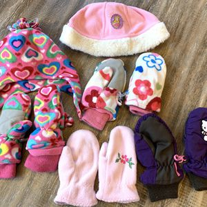 girls kids fleece mittens & hat pink purple white sweet heart Disney gap Children's place H&M 3T-4T lot for Sale in Chino Hills, CA