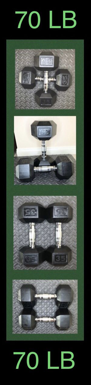 (2) 35LB CAP Rubber Hex Dumbbell pair ( 70lb total ) for Sale in Moreno Valley, CA