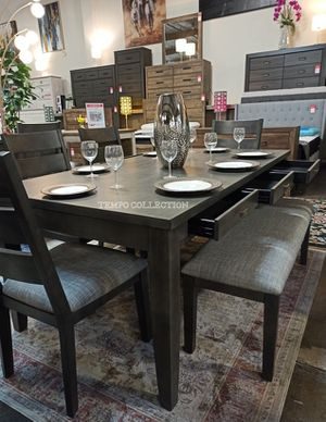 NEW, GRAY 6 PCS DINING SET WITH 6 SMALL DRAWERS, SKU#5674 for Sale in Santa Ana, CA