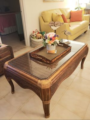 Coffee and two end tables. Rattan. Glass tops. Very good condition for Sale in Boynton Beach, FL