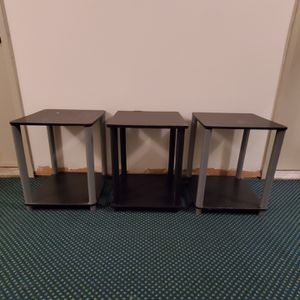 """THREE (3) SMALL, STACKABLE CUBE TABLES (ea. 20.25"""" H x 15.75"""" W x 15 & 5/8"""" L - ea. weighs approx 8 lbs.) - price ALL THREE (3) together & is firm for Sale in Arlington, VA"""