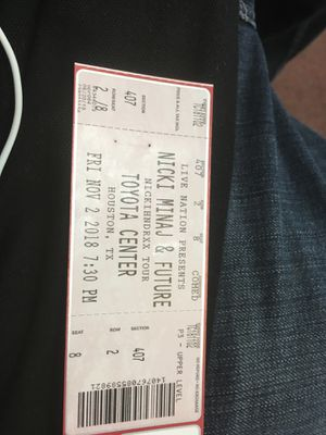 Nicki Minaj's and future ticket for Sale in Beaumont, TX