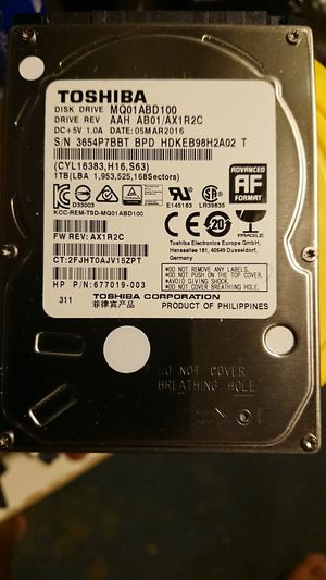 Toshiba 1tb sata hard drive. 2.5 mainly used for laptops for Sale in Philadelphia, PA